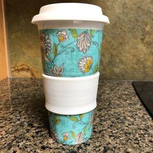 World Market Teal Floral Mug